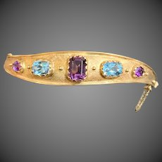 European 9k Gold Amethyst Topaz Multi Gemstone Bangle Bracelet