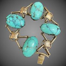 Antique Chinese Silver Cabochon Turquoise Gemstone Bracelet