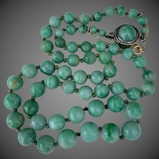 GIA Certified Antique Chinese Natural Jadeite Jade Beaded Necklace