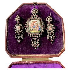 Antique Austro Hungarian Enamel Garnet Seed Pearl Earrings Brooch Pin Pendant for Necklace Original Box