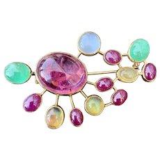 10k Gold Cabochon Cut Ruby Emerald Opal Moonstone Tourmaline Multi Gemstone Pin Brooch