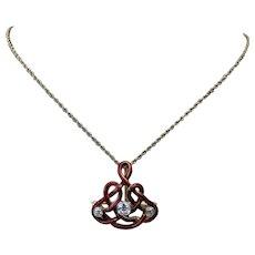 Antique Art Nouveau A.J Hedges & Co 14k Gold Enamel Old Mine Cut Diamond Brooch Pin Pendant for Necklace