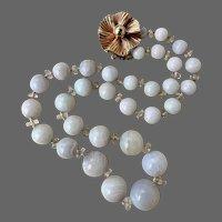 Retro Designer 14k Gold Opal Quartz Rock Crystal Gemstone Beaded Necklace
