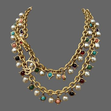 Rare Christian Lacroix Genuine Multi Gemstone Faux Pearl Signed Charm Necklace