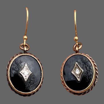 Antique Mourning Black Onyx Genuine Diamond Drop Earrings 14k Gold Fill