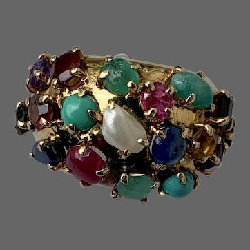 Retro 14k Gold Bombe Multi Gemstone Ruby Emerald Sapphire Pearl Turquoise Jadeite Ring
