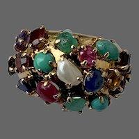Retro 14k Gold Bombe Tutti Frutti Multi Gemstone Ruby Emerald Sapphire Pearl Turquoise Jadeite Ring