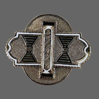 9k Gold Victorian Taille d'Epargne Enamel Brooch Pin Pendant for Necklace