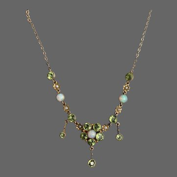 Antique Arts & Crafts Murrle Bennett & Co Opal Peridot Seed Pearl 9k Gold Necklace