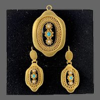 Antique Victorian 14k Gold Austro Hungarian Empire Turquoise Seed Pearl Enamel Mourning Earrings  Pin Brooch Pendant for Necklace