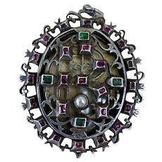 Antique Victorian Tourmaline Emerald Pearl Silver Pendant for Necklace Inspired by The Lyte Jewel