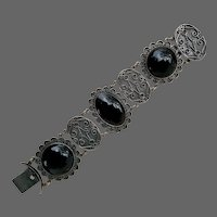 Art Deco Mexican Sterling Silver Black Onyx Gemstone Bracelet