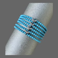 14k White Gold Turquoise Diamond Multi Strand Beaded Bracelet