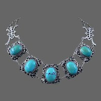 Chinese Sterling Silver Natural Turquoise Gemstone Necklace