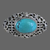 Sterling Silver Chinese Turquoise Gemstone Brooch Pin