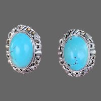 Chinese Sterling Silver Turquoise Gemstone Earrings