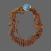 Art Deco 14k Gold Baltic Amber Larimar Gemstone Beaded Multi Strand Necklace