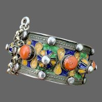 Antique Kabyle Berber Coral Enamel Sterling Silver Hinged Bracelet