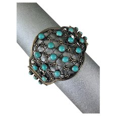 Chinese Gilded Silver Natural Turquoise Gemstone Beaded Cuff Bracelet