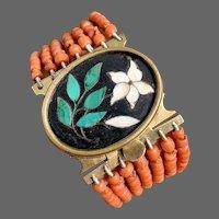 Antique Victorian Pietra Dura Coral Multi Strand Bracelet 35.4 Grams