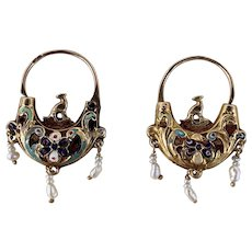 Antique Georgian 18th Century Gold Enamel Seed Pearl Earrings