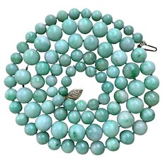 14k Gold Chinese Jade Jadeite Beaded Necklace
