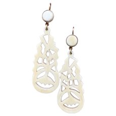 French Antique Faux Ivory Victorian Drop Earrings