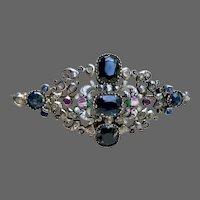 Antique Sapphire Ruby Diamond Tourmaline Multi Gemstone Enamel Brooch Pin