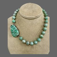 Rare Antique FN Co Fisher Nessler Carved Jadeite Jade Sterling Necklace