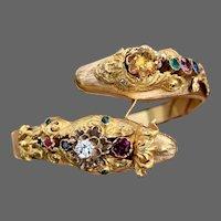 Antique Victorian 14k Gold Snake Bypass Emerald Diamond Ruby Sapphire Multi Gemstone Bangle Bracelet
