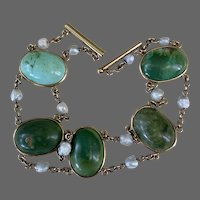 Art Deco 14K Gold Hallmarked E.L Logee Co Turquoise Fresh Water Pearl Bracelet