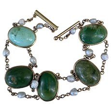 Art Deco 14K Gold Hallmarked E.L Logee Co Turquoise Fresh Water Pearl Bracelet