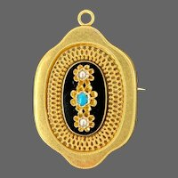 Antique Victorian 14k Gold Austro Hungarian Empire Turquoise Seed Pearl Enamel Mourning Pin Brooch Pendant for Necklace
