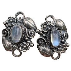 Antique Arts & Crafts Sterling Silver Moonstone Earrings