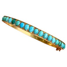 Antique Victorian 18k Gold Turquoise Gemstone Bangle Bracelet