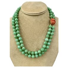 Art Deco Chinese 14k Gold Carved Coral Jadeite Jade Beaded Necklace