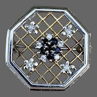 9K Gold Diamond Sapphire Brooch Pin