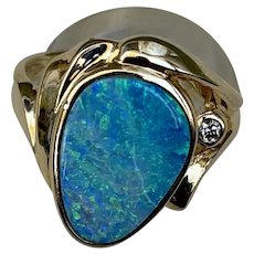 14k Gold Boulder Opal Diamond Ring