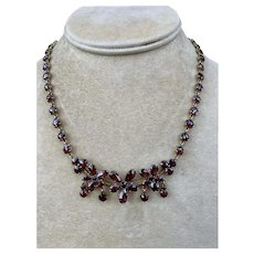 Antique Bohemian Garnet Pendant Drop Necklace