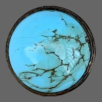 Antique Cabochon Turquoise Pin Brooch