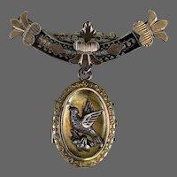 Antique Victorian 9K Gold Brooch Pin Photo Locket