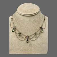 Antique Georgian 18k Gold Peridot Diamond Seed Pearl Swag Necklace