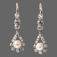Antique GIA Certified Natural Pearl Diamond Platinum 18k Gold Earrings
