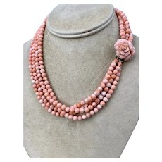 14k Gold Angel Skin Coral Multi Strand Beaded Necklace
