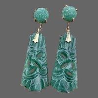Retro Carved Aventurine Gemstone Drop Earrings