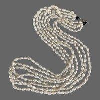 Retro Multi Strand Biwa Rice Pearl Onyx Necklace