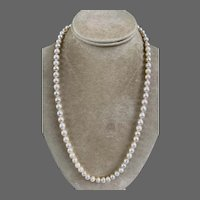 Sterling Silver Semi Baroque Pearl Beaded Necklace