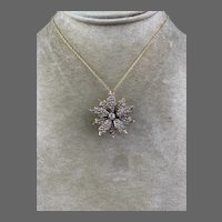 Antique Edwardian 14k Gold Starburst Seed Pearl Diamond Pendant For Necklace Brooch Pin