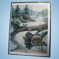 Ducks on Pond Michael Glenn Monroe 1988 Limited Edition Signed Lithograph Sporting Art