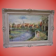 Beautiful Two Sisters Lakeside in Victorian Style Dresses Large Oil Painting in White Frame